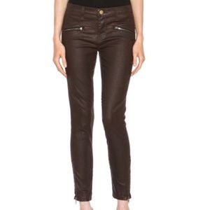 Current Elliott Soho Zip Stiletto Coated Jeans 24